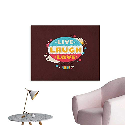 Anzhutwelve Love Wallpaper Colorful Hipster Hot Air Balloon with Live Laugh Love Phrase Cheerful Fun Retro Style Funny Poster Multicolor W36 xL32]()