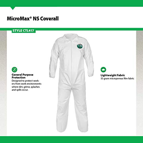 Lakeland MicroMax NS Microporous General Purpose Coverall, Elastic Cuff, X-Large, White (Case of 25) by Lakeland Industries Inc (Image #1)