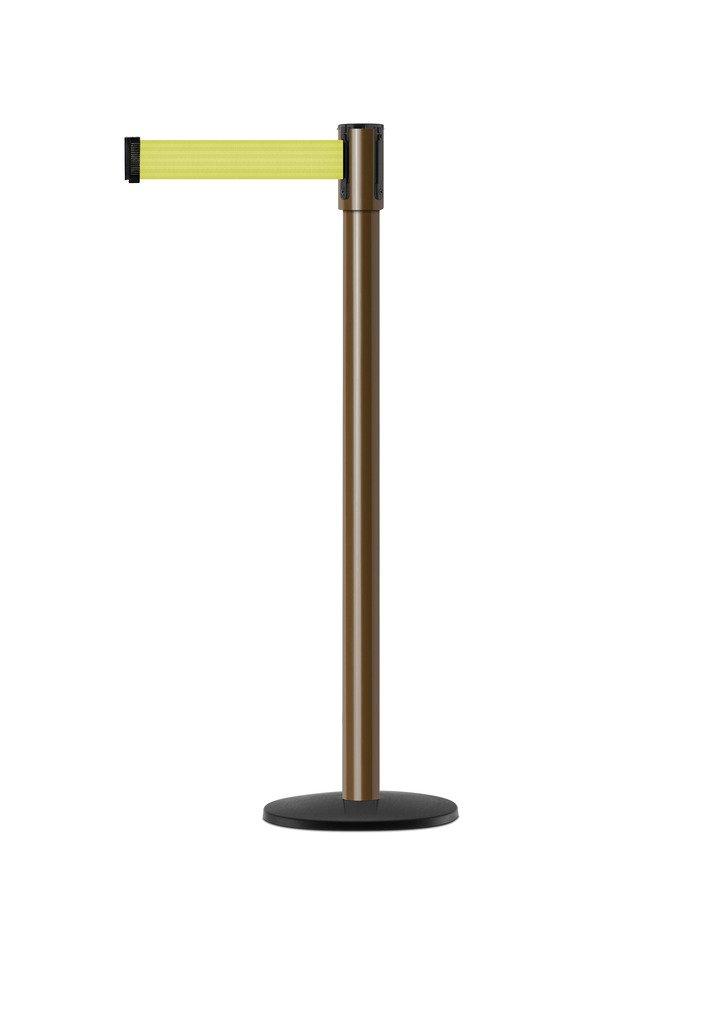 Tensabarrier - 890B-33-46-46-STD-NO-F5X-C - brown post, 2'' wide, 7'6'' length Florescent Yellow belt
