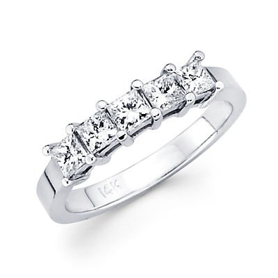 Size- 9.5 - 14k White Gold Diamond Princess Cut Womens Ladies Wedding Ring 1.0 ct (G-H Color, I1 Clarity)
