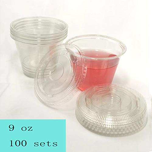 100sets 9oz. Plastic Ultra Clear squat Cups with flat lids without x slotted is for Cupcake, icecream