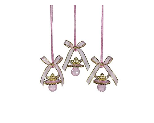 Deluxe Pink Little Princess Baby Shower Pacifier Necklace Set (metal crown)]()