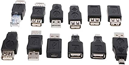Cable Length: Other Connectors 12Pcs//Set OTG USB 2.0 A Male to Female Micro-B Mini-B Changer Data Converter Adapter
