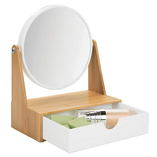 mDesign Freestanding Round Makeup and Cosmetic Vanity Mirror with Storage Drawer for Bathroom Vanity, Counter, Dresser Top - Bamboo Base - Natural Bamboo/White