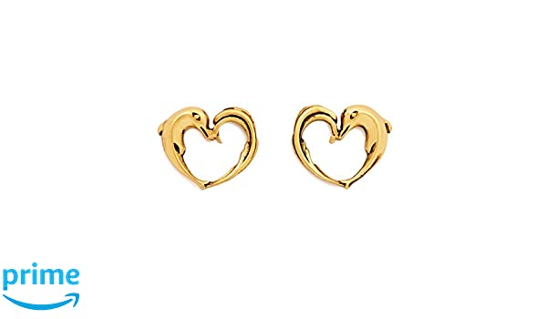 234f6eb7d Amazon.com: Charmed Aphrodite's Heart Stud Earrings, Gold Plated: Jewelry