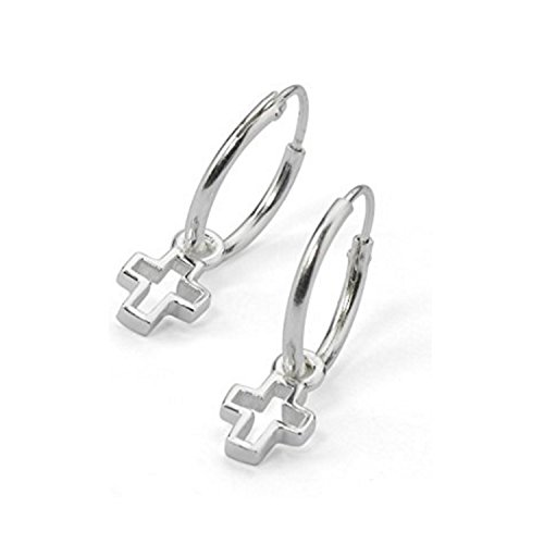 (Sterling Silver Small Christian Cross Dangle Endless Hoop Earrings 3/8 Inch (10mm), One Pair Set)