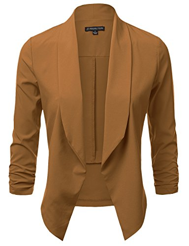 JJ Perfection Women's Lightweight Chiffon Ruched Sleeve Open-Front Blazer CAMEL L