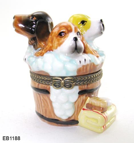 Porcelain Puppy (Washing Tub Suds Dogs Puppies Puppy Porcelain Hinged Trinket Box phb)