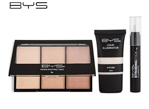 BYS Strobing Kit in Keepsake Tin Strobing Stick Highlighting Trio Palette and Strobing Liquid Illuminator Comes with a Step by Step Tutorial (Cargo Color Eye Shadow Palette)