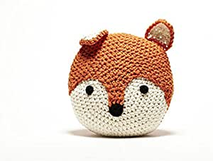 Lovely Sofa Bed Decorative Crochet Fox Pillow 13 inches Round