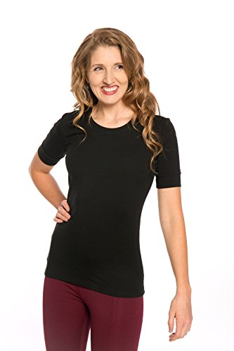 Sleeve 1/2 Top (Heirloom 1/2 Sleeve Tee with Cuff, Scoop Neckline, Extra Length Comfy Slim fit (Black, M))