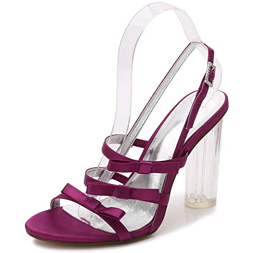 Elobaby Women Wedding Shoes,Satin Silk Like Buckle Heels Ivory Fashion (10cm Heel), Purple, ()