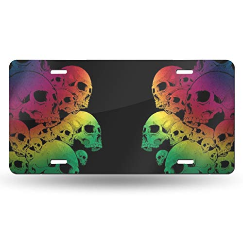 NVHBGIKL Two Piles of Skulls Personality Metal License Plate Decoration Card Aluminum 6