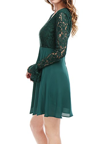 Dress Green Neck Sheer Lace Women Allegra Panel K V Knee Above Sleeves s Flared H8Zxx7q