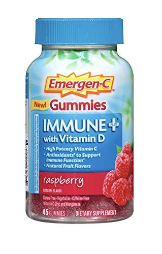 Emergen-C Gummies Immune Plus Vitamin D, Raspberry, 45 Gummies (Pack of 2)