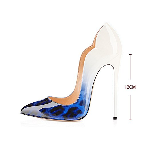 Stilettos Heels Evening Leopard cute wedding Women's Toe Blue Leather Sexy High Point Dress patent Shoes Modemoven Pumps q6wXaOa