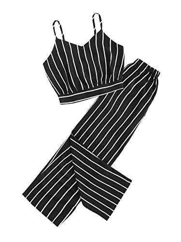 - Milumia Women Striped Tie Back Crop Cami Top with Pants 2 Piece Set Outfit Black M