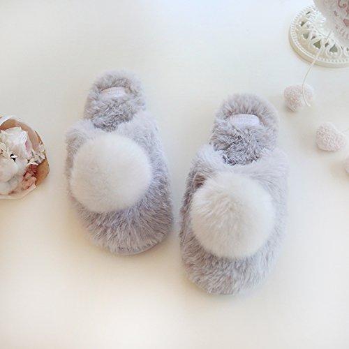 Halluci Womens Cozy Plush Fleece Memory Foam House Slippers w/Fluffy Balls Grey D3DGfocpVi