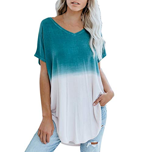 Women's Summer Tops, Short Sleeve Dye Tie T-Shirt, Color Block Tunic Tops Blouse, Casual Dolman Shirts Blue