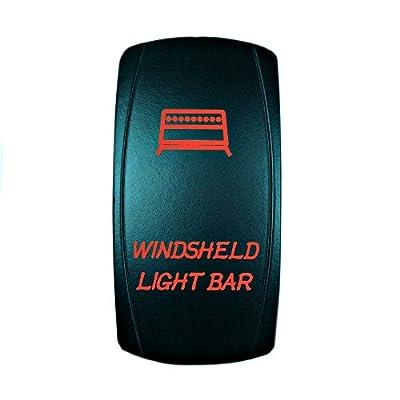 STV Motorsports 5 Pin Laser Rocker Switch WINDSHIELD LIGHT BAR On/Off LED Light 12V 20A – Red