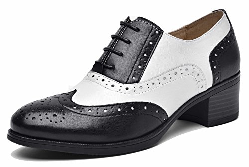 Wingtip Multicolor Oxfords Perforated Blackwhite Oxford Vintage up lite U Mid Shoes Women's Flat Heel Lace Leather wpX8XI4qP