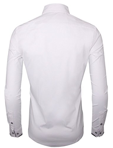 Tom's Ware Mens Premium Casual Inner Contrast Dress Shirt TWNMS314S-WHITE-US M