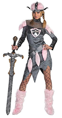 Disguise Unisex Adult Barbarian Babe, Grey/Pink, Large (12-14) (Quick Halloween Costumes For Adults)