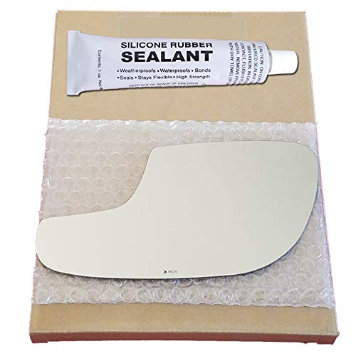 Mirror Glass Replacement + Silicone Adhesive for 2012-2018 Ford Taurus Driver Side - Lower Flat Mirror (Driver Side Mirror Ford Taurus)