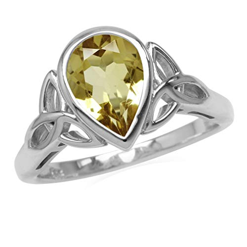 (Silvershake Genuine 1.6ct. 10X7mm Citrine 925 Sterling Silver Triquetra Celtic Knot Ring Size)