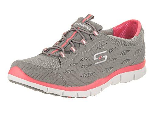 Skechers Deportivo Mujer Gratis Zapatillas de deporte elegante y elegante, punto negro Gray Pink