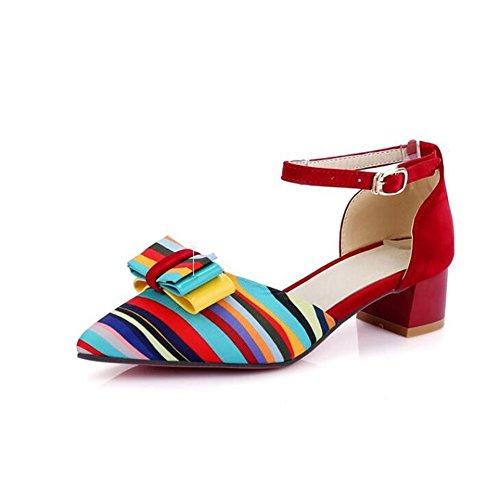 SHINIK Zapatos de mujer cuero sintético primavera verano tacón grueso bowknot conjunta dividida para vestido casual al aire libre negro rojo azul B