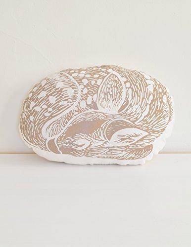 Deer Throw Pillow - USA Organic Cotton - Sleeping Fawn - Animal Plush - Mocha Brown - Hand-printed Decorative Pillow - Throw Pillow - Woodland Decor - Handmade Cushion - Eco-Friendly