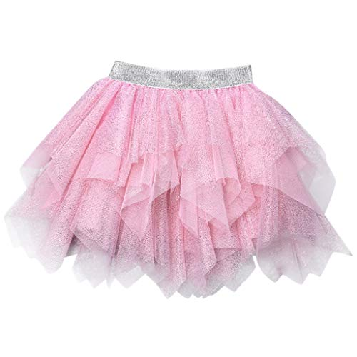 Sunhusing Adorable Children Kids Irregular Sequins Embellished Tulle Tutu Skirt Princess Pettiskirt Pink