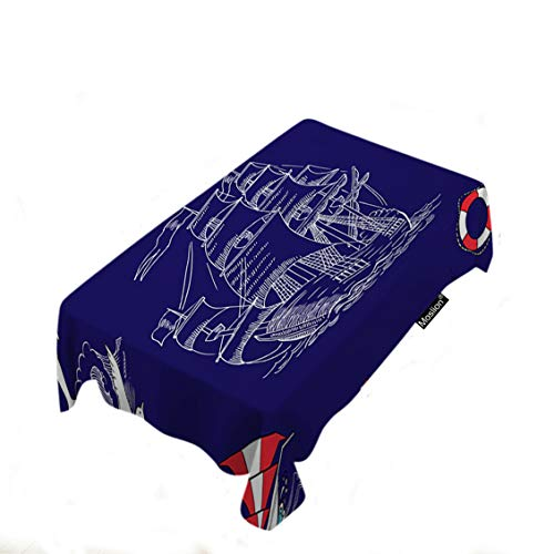 - Moslion Nautical Tablecloth Home Decor Ocean Boat Compass Wave Bird Fish Dolphin Sea Sail Rope Table Covers Polyester Fabric Decorative Rectangle Tablecloths for Dining Room Kitchen 60x104 Inch