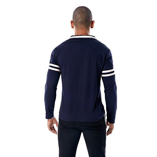 Da Sottile T Lunga Top Manica Blu Uomo collo Maglietta Polo V Gomy Camicetta Scuro shirt wHvtTnxqw0