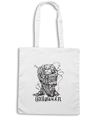 T-Shirtshock - Bolsa para la compra T0352 zombie HALLOWEEN festivita Blanco