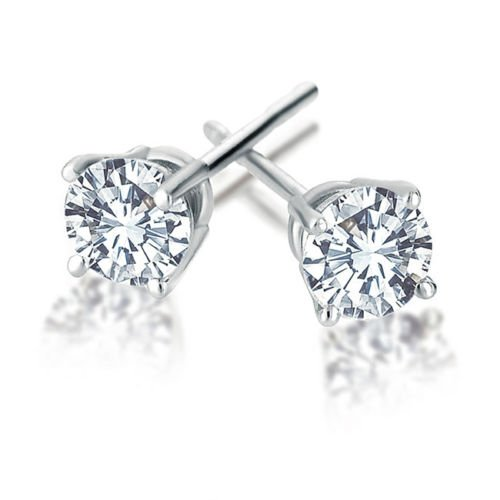 1/2 Ct Four Prong - 14K White Gold 1/2 Carat Natural Round Diamond 4-Prong Stud Earrings