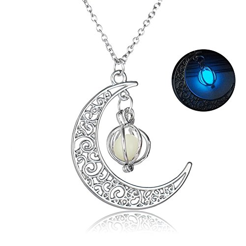JIEPING Crescent Moon Hollow Pumpkin Glow in the Dark Luminous Chain Necklace