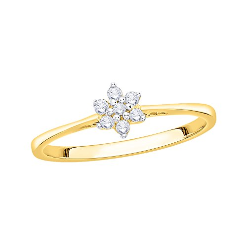 KATARINA Prong Set Floral Diamond Promise Ring in 14K Yellow Gold (1/10 cttw, G-H, VS2-SI1) (Size-5.75) (Promise Floral Diamond Ring)