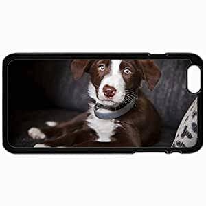 Customized Cellphone Case Back Cover For iPhone 6, Protective Hardshell Case Personalized Dog Look One Dog Black