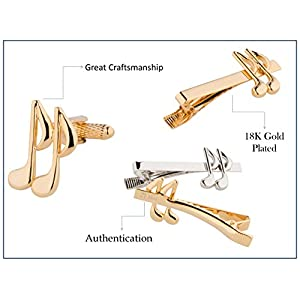 Music Note Cufflinks & Tie Bar set, Gold and Silver 6 pieces, smart elegant
