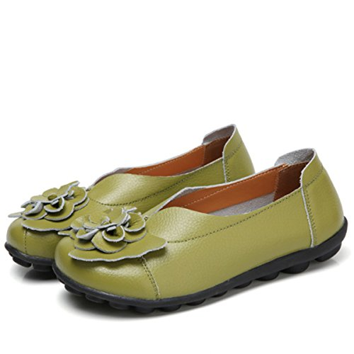 Socofy Slip on Leather Flat Shoes,Womens Outdoor Flower Decoration Handmade Casual Lazy Soft Loafers Green