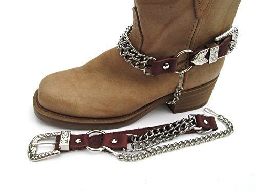 Western Boots Boot Chains Brown Topgrain Cowhide Leather with 2 Steel Chains