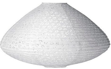 Luna Bazaar Eyelet Paper Lantern, Clip-On Lamp Shade (18-Inch, Tabla-Shaped, White) - Hanging Paper Decorations - For Home Decor, Parties, and Weddings