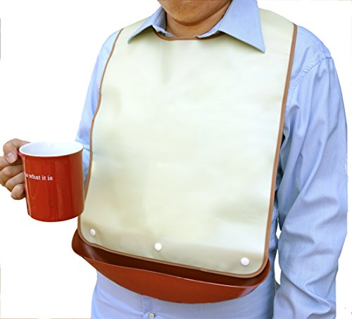 Waterproof adult bib with detachable crumb catcher