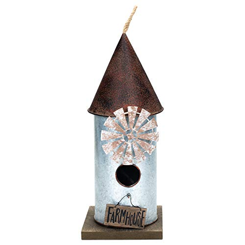 - Melrose International Farmhouse Windmill 5.5 x 13.5 Galvanized Metal Hanging Indoor Outdoor Birdhouse