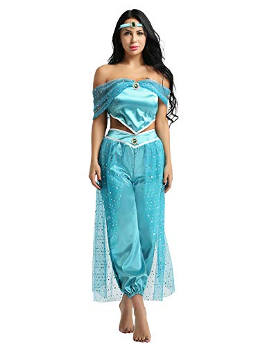 iEFiEL Adult Women Sequin Pant Set Dress Up Costumes Arabian Princess Halloween Party Dress Up Blue -