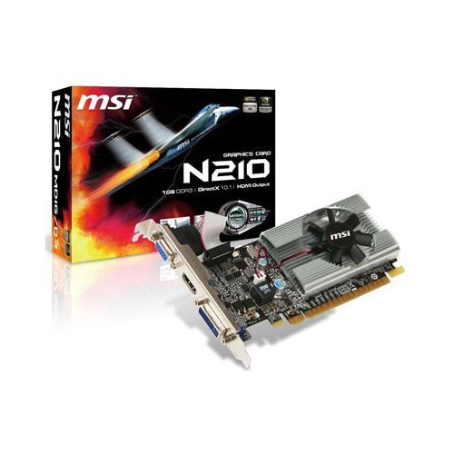 Video Card 210 Geforce (MSI N210-MD1G/D3 GeForce 210 1GB 64-bit DDR3 PCI Express 2.0 x16 HDCP Ready Low Profile Ready Video Card (N210-MD1G/D3))