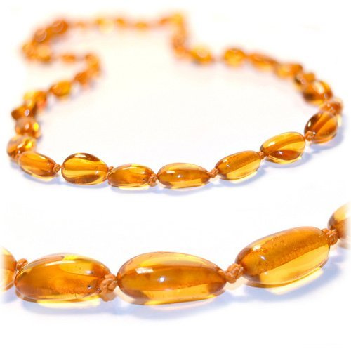 (The Art of Cure Original Baltic Amber Necklace- Polished Handmade (Honey Bean) for boy or girl - 12-12.5 Inches size)
