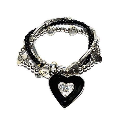 Tinder Rhinestone and Beaded Heart Stretch Bracelet with Embossed Decoratives: JBS03590-BK